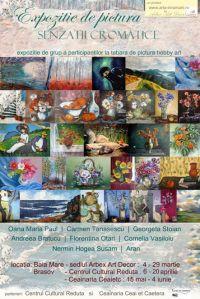 afisul expozitiei de pictura Senzatii Cromatice