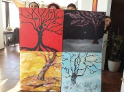 Ansamblu Anotimpurile - pictura cvadrupla de grup realizata in Tabara de pictura Hobby Art editia de iarna 2018