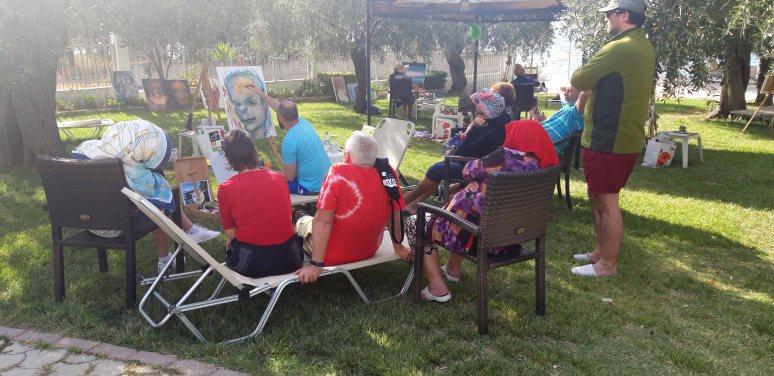Demonstratie de pictura in Tabara de pictura Hobby art Thassos 2019
