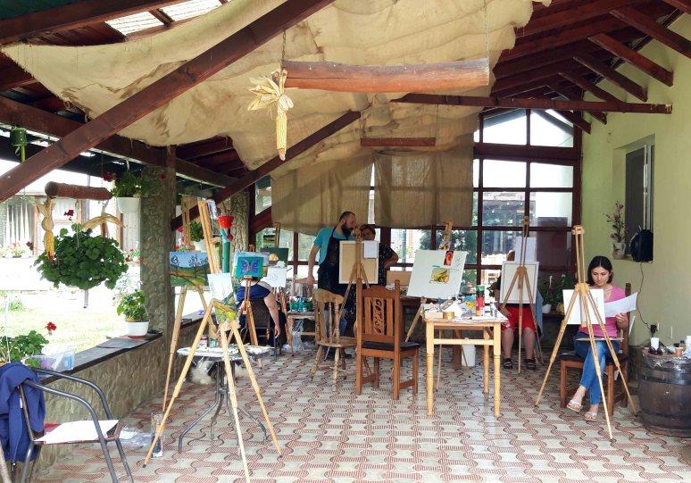 Instantanee din Tabara de pictura Hobby Art pentru incepatori-editia 2019-atelierul de lucru