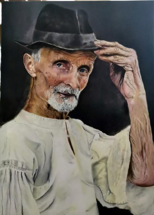 Pictura portret taran in varsta realizat de Mihaela Baci