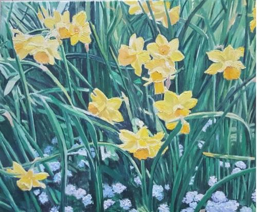 Narcise galbene | Adriana Negruti | ulei panza 50×40 cm
