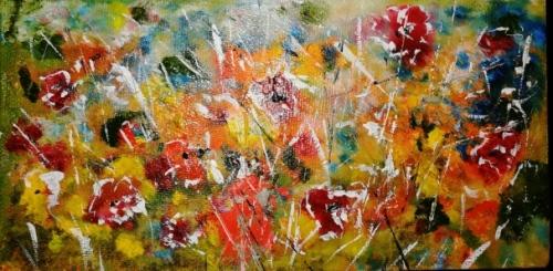 Gradina cu flori |Angelica Zaharie | ulei panza 30×15 cm