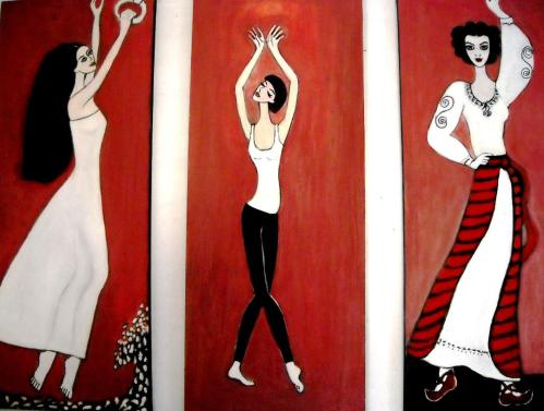 Sinestezie-muzica dans miscare-Pina Bosch,Maia Plisevskaia,Maria Tanase | Elena Buftea | ulei panza 3 x1 m