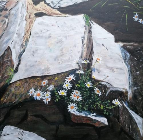 Minunea mea, vara | Eva Ajtai | acril panza 40×40 cm