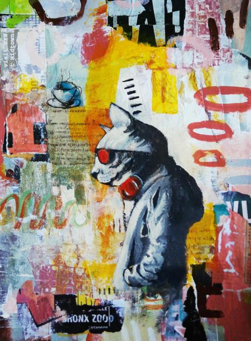 Cat in town | Florentina Popescu | colaj + acrilic pe hartie Canson 30×40 cm