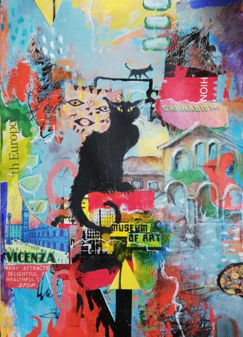Chat noir | Florentina Popescu | colaj + acrilic pe hartie Canson 30×40 cm
