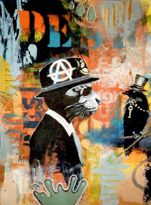 unk cat | Florentina Popescu | colaj + acrilic pe hartie Canson 30×40 cm