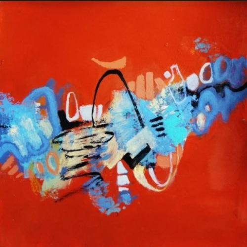 Red mood | Florentina Popescu | acrilic pe hartie Canson 30×30 cm