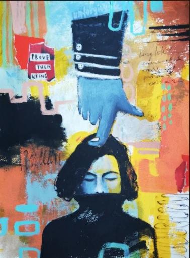 Unforgivable | Florentina Popescu | colaj + acrilic pe hartie Canson 30×40 cm
