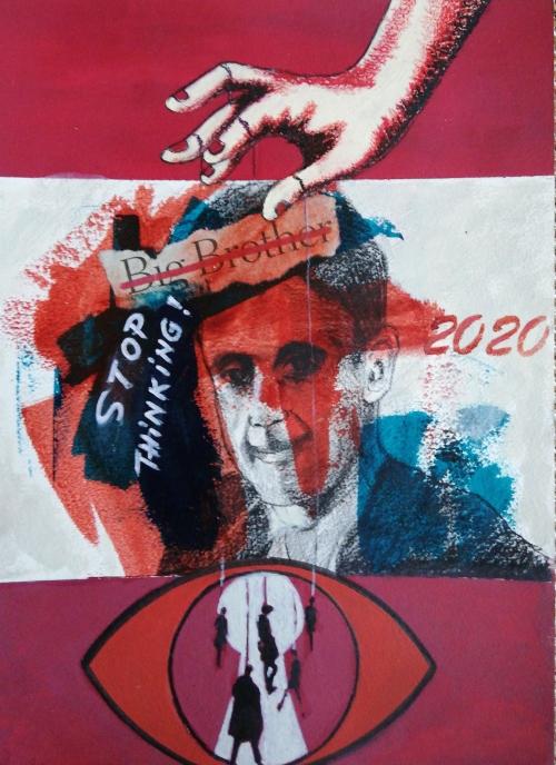 Stop thinking | Florentina Popescu | colaj + acrilic pe hartie Canson 30×40 cm
