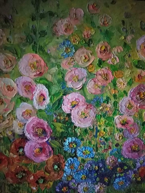 Flori din gradina | Lenuta Stana | ulei cutit , 40×40 cm