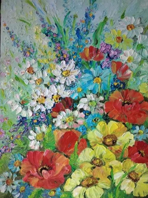 Surasul florilor | Lenuta Stana | ulei cutit pe sticla 30×40 cm