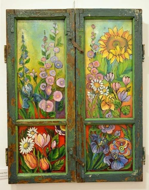 Fereastra cu flori | Lenuta Stana | culori speciale sticla, portelan pe sticla 60×80 cm