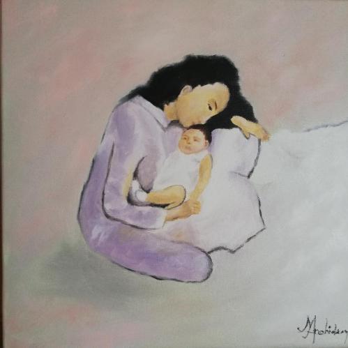 Momentul lor | Margareta Apahidean| ulei panza 40×40 cm