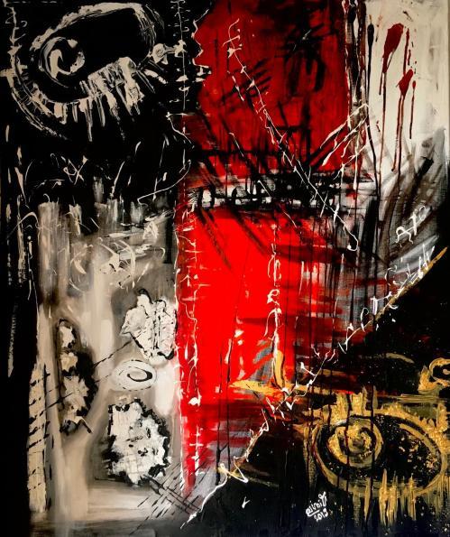 Nuvela cu personaje imaginare | Postaru Viorica | ulei/mixed media pe panza 120×100 cm