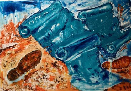 Pergamentele Marii cu amprente pe nisip | Postaru Viorica | ulei/cafea pe panza 100×70 cm