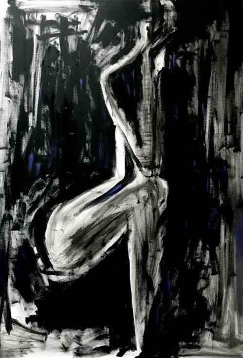 Umbra de femeie | Postaru Viorica | ulei, acril panza 100×70 cm