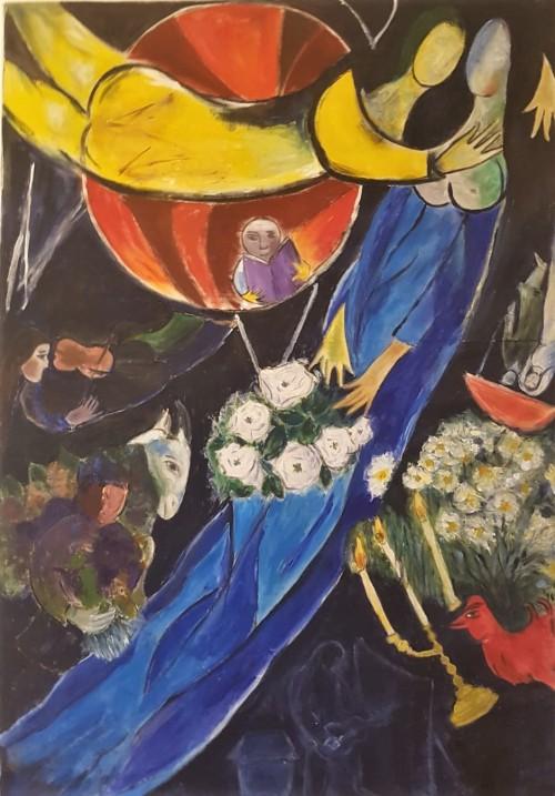 Chagall, mon amour, minunea mea | Elena Bancila | acril panza 75×108 cm