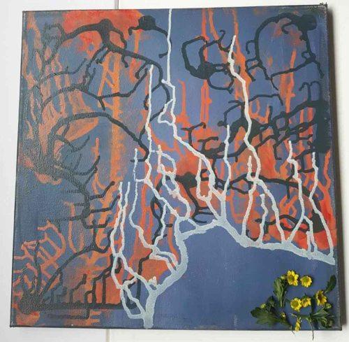 Izolare | Elena Bancila | ulei, colaj pe panza 40×40 cm
